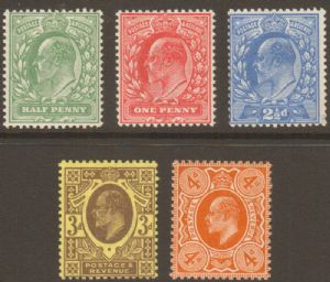 1911 Edward VII Harrison Perf 14 Stamp Set Of 5 Mounted Mint SG267-278